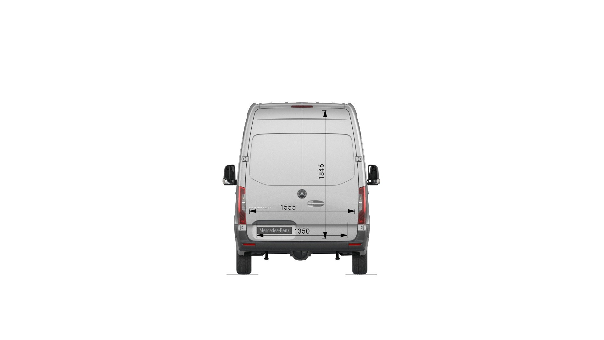 Van drawings-Rear view-standard