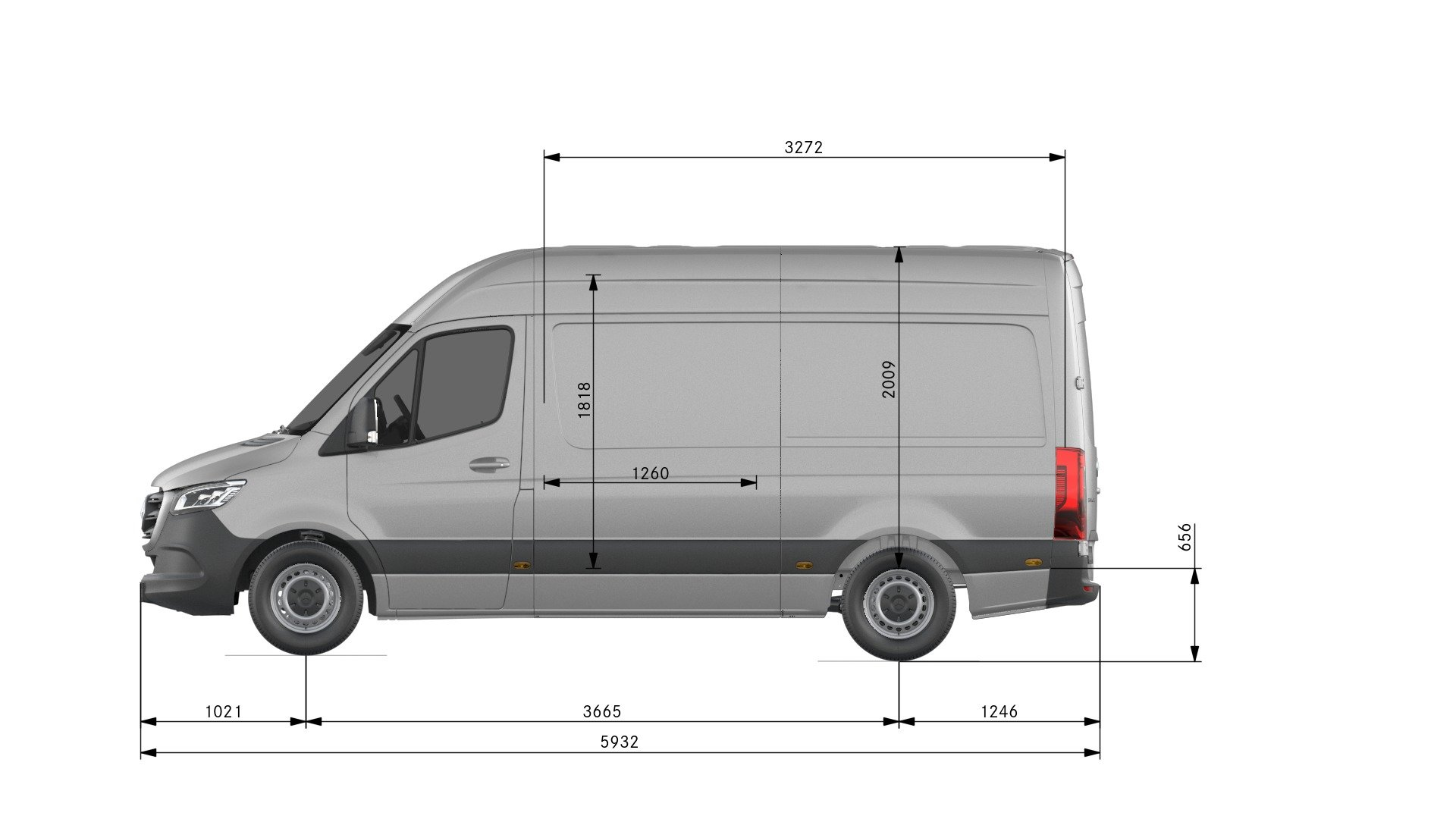 Van drawings-Side view-standard length-high roof