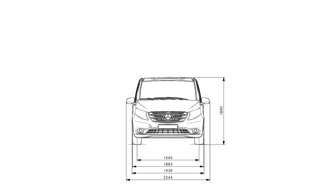 Vito_Tourer_ExtraLong_front_dimension_Drawing